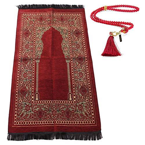 Muslimischer Gebetsteppich mit Gebetskette | Janamaz | Sajjadah | Weiche islamischen Gebetsteppich | Islamische Geschenke | Gebet Teppich Matte, Chenillegewebe, Maroon