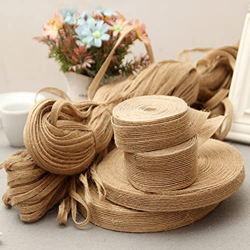 HYSLYQ 10Meter Crafts Jute Burlap Ribbon Bow Sewing DIY Jute Fabric Rope Cord String Gift Party Wedding Christmas Decoration 10mm