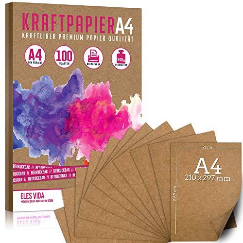 Set di carta Kraft DIN A4 300g - 21x29,7cm - Carta per artigianato e cartone naturale Carta kraft per cartone da stampa, carta di cartone Creazione di etichette per regali di nozze vintage (100 fogli)