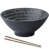 YWYW 2 juegos de 14 oz japonesa Ramen sopa de fideos Ramen de cerámica con palillos a juego para fideos asiáticos Udon Soba Pho