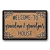 WYFKYMXX Personalized Welcome to Grandma & Grandpa's House Grandparent Gift Flocked Coir Doormat Rug Custom Grandma Grandpa Name Gift 23.6' x 15.7'