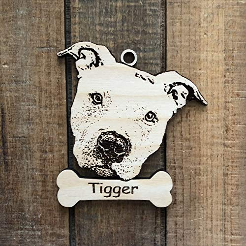 Personalized Pit Bull Ornament - Pit Bull Christmas Ornament - Gift for Pit Bull Owner - Staffordshire Terrier - Laser Etch Your Dog's Name
