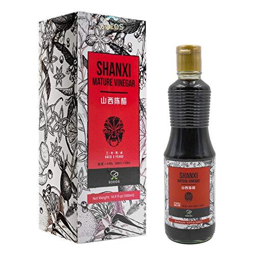 Soeos Black Vinegar, Black Shanxi Vinegar, Shanxi Black Vinegar, 16.9oz(500ml).