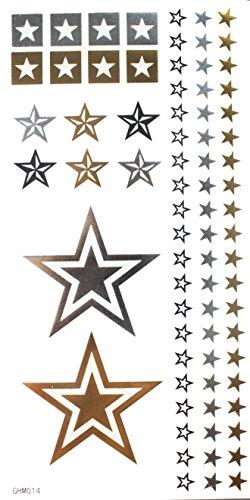 Spestyle non toxique et imperméable à l'eau d'or Gold & Silver & Black Metallic tatouage temporaire autocollant stars conception