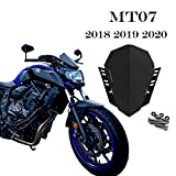 Atlants Cúpula moto Yamaha MT07 FZ07 2018 2019 2020 - Parabrisas motocicleta de acero inoxidable - Cortavientos aerodinámico para moto Naked – Pantalla delantera para moto