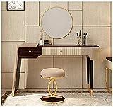 Tocador marrón con espejo plegable y taburete de maquillaje, mesa de dormitorio...