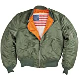 Alpha Industries MA-1 Blood Chit Bomber Flight Jacket - Fighter Pilot Flight Jacket - Sage, L