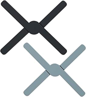 Salvamanteles plegable de silicona para encimeras de cocina, barra de trabajo, salvamanteles, antideslizante, resistente al calor, de goma, 2 unidades