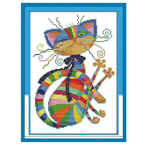 Dimensions Counted Cross Stitch Kits Full Range of Embroidery Patterns Starter Kits for Beginners Adult or Kids DIY Cross Stitches Needlepoint Kits (Colorful cat 12.6×16.5 inch)