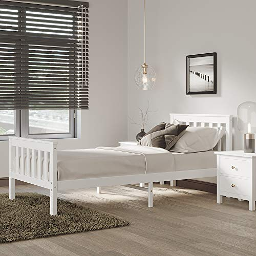 PANNANA Single Bed Frame, Solid Wood Bed, Pine Bed frame 3ft, White Wooden