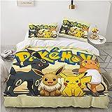 JYHTK Juego de Funda Nórdica de Ropa de Cama de Pokemon Pikachu 3D, 2 Piezas, Funda Nórdica de Microfibra con Funda de Almohada, Funda Nordica Single ,Cama 90 (135 * 200 cm + 1 × 50 * 75 cm