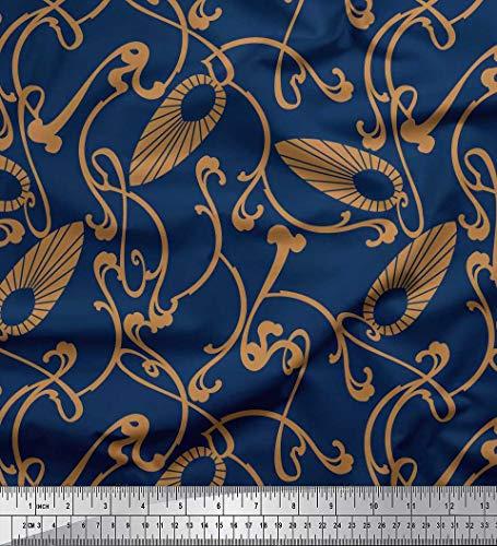Soimoi Blau Baumwoll-Popeline Stoff Jugendstil-Elemente Kunsthandwerk Stoff drucken 1 Meter 56 Zoll breit