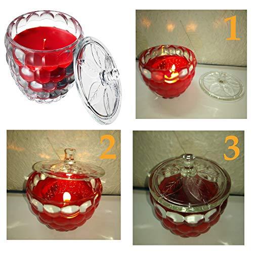 Ikeaa Vela perfumada Grande roja con Cristal y Tapa: útil para Apagar la Vela [Assenza Aria] evitando el Humo Que entra en el Interior