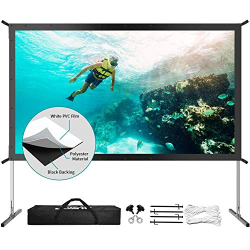 """Projector Screen with Stand, Upgraded 120"""" 4K HD Outdoor/Indoor Portable Projector Screen 16:9 Foldable Movie Projection Screen with Carry Bag for Home Theater Camping Gaming Backyard Movie"""