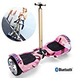 FLy Hoverboard Scooter Eléctrico Self Balance Scooter Eléctrico 7' con Pasamanos De Seguridad Regulable En Altura con Luces LED Bluetooth Modelo para Adultos Y Niños,Rosado