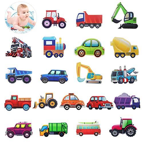 HANGNUO Antislip stickers voor douche badkuipen, badkuipsticker, baduitrusting decoratieartikelen sticker, voertuig tractor auto bagger aftrekplaatje voor kinderen, zelfklevend (20 stuks)