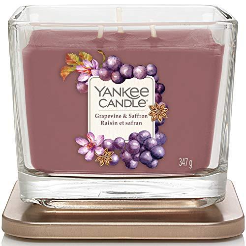 Yankee Candle candela profumata media a 3 stoppini | Uva e zafferano | Durata della fragranza: fino a 38 ore | Elevation Collection con coperchio utilizzabile come base