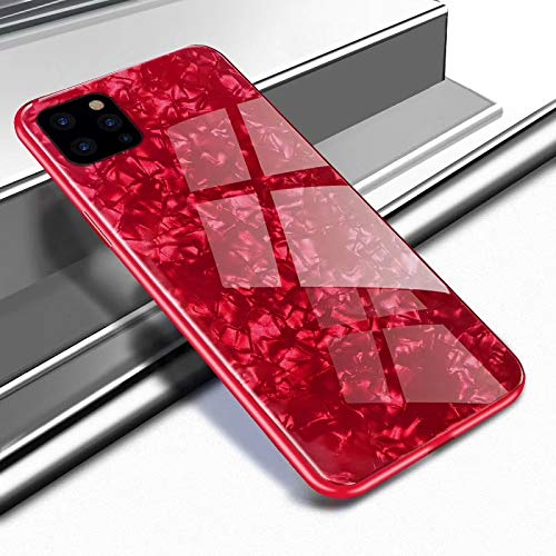"""SevenPanda Gehärtetem Glas Zurück Hülle für iPhone 12 Mini, für iPhone 12 Mini Hard Case, Glitter Muschel Muster Gemalt Harten Spiegel Weichen Bumper Cover Schutz für für iPhone 12 Mini 5.4"""" - Rot"""
