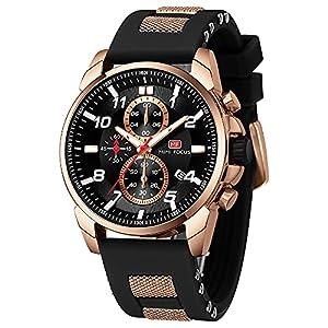 Mens Watch, MINI FOCUS Waterproof Wrist Watch for Men, Analog Quartz Silicone Sport Chronograph, Big Face Black Dress Men's Watch, Relojes de Hombre