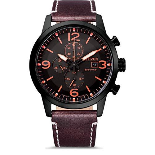 Citizen Herren Analog Eco-Drive Uhr mit Leder Armband CA0745-11E