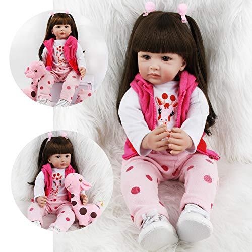ZIYIUI Simulation Reborn Baby-Puppe 24 Zoll 60 cm Reborn Babys Mädchen Weiche Vinyl Silikon Lebensechte Babypuppen Reborn Toddler Spielzeug Geschenk