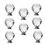 Suitable for decorating your kitchen, living room, bedroom, Classy pull knob is perfect for drawer, door, cabinet, wardrobe Package Includes: 8 x Clear Crystal Glass Knobs and 8 Mounting Screws Glass Knobs. Diameter: 40mm, Height: 50mm