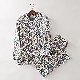 wsxcfyjh Pijamas Camisón Conjunto De Pijamas De Leopardo Vintage para Mujer, Ropa De Dormir De Algodón Cepillado, Pijamas De Franela De Moda para Mujer, XL Vintage-I