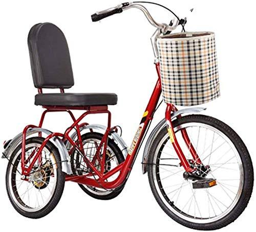 HKPLDE Triciclo Adulto,Triciclos Eléctricos para Ancianos, Bicicletas De Movilidad De Ocio para Ancianos, Pedal Adulto Ocho Exterior-pequeñas Bicicletas De Fitness En Forma-Rojo