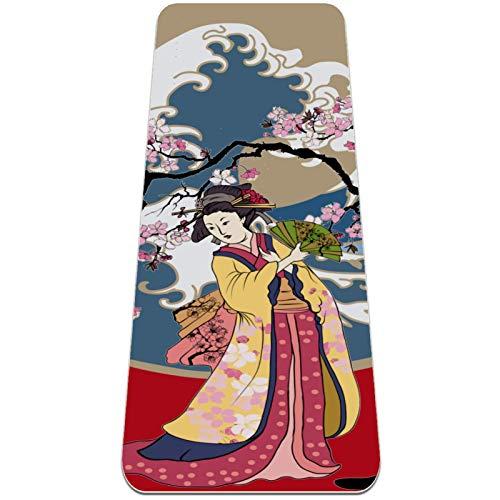 Esterilla Yoga Mat Antideslizante Profesional - Mujeres japonesas en kimono con flor de cerezo - Colchoneta Gruesa para Deportes - Gimnasia Pilates Fitness - Ecológica