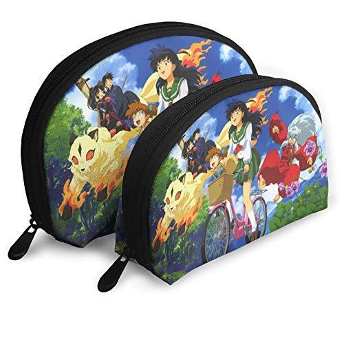 XCNGG Inuyasha Cosmetic Bags Portable Bag Clutch Pouch Set Women Men Travel Purse With Zipper Handbag Organizer 2Pcs