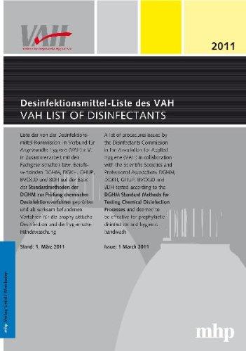 Desinfektionsmittel-Liste des VAH VAH List of Disinfectants: Liste der nach der Desinfektionsmittel-Kommission im Verbund für Angewandte Hygiene (VAH) ... und die hygienische Händewaschung