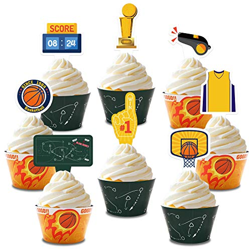 Basketball Cupcake Wrapper Basketball Cupcake Topper for Man Boy Girl Kids Teenagers Sport Theme Birthday Event Baby Shower Gender Reveal Wedding Party Supplies Decoration (Basketball Cupcake Wrapper)
