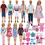 EuTengHao 34Pcs Doll Clothes and Accessories for 12 Inch Boy and Girl Dolls Chef Kitchen Playset Includes 18 Wear Clothes Stove Pots Motorcycle Bear Turtle Backpack Umbrella for 12 Inch Doll