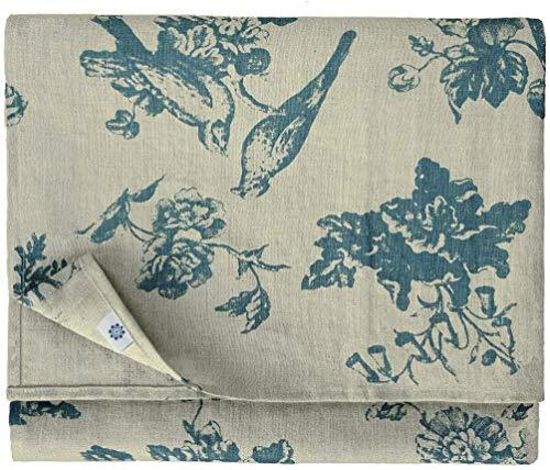 Linen & Cotton Hochwertige Tischdecke Stoff Tischtuch Tischwäsche Flores mit Blumen Motiv - 100% Leinen, Beige Blau (140 x 300 cm) Vintage Rechteckig für Home Küche Wohnzimmer Dekoration