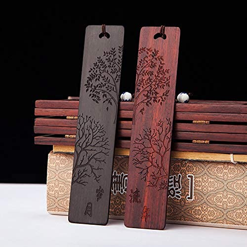 PUTAHQ Wood Bookmarks for Women,Handmade Natural Bookmarks with Tassel,Wooden Handmade Bookmarks Carving Gift Box Set Students, Men and Women.