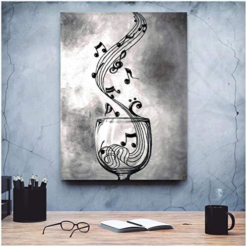 Música Copa de vino impresiones en lienzo pintura decoración del hogar póster imágenes sala de estar decoración de la pared de la oficina en casa-60x80 cm sin marco