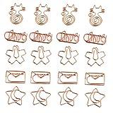 20 Piezas Clips de Papel de Oro Rosa, Clips de Papel de Gato de Oro Rosa, Clips de Papel de Flor de Cerezo, para Invitaciones Decorativas, Postales, Libros, Organizar Archivos, Documentos, Papel