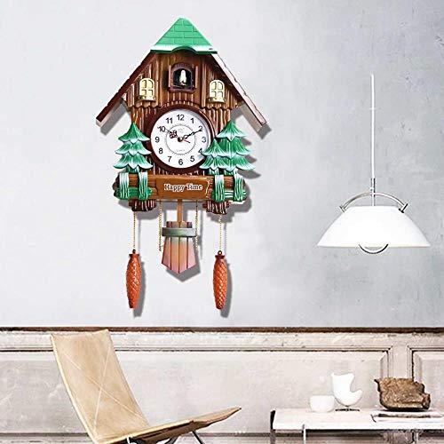 EDCV houten koekoeksklokhorloge moderne korte kamer decor groene hut schommel woonkamer wandklok vogel koekoek wekker