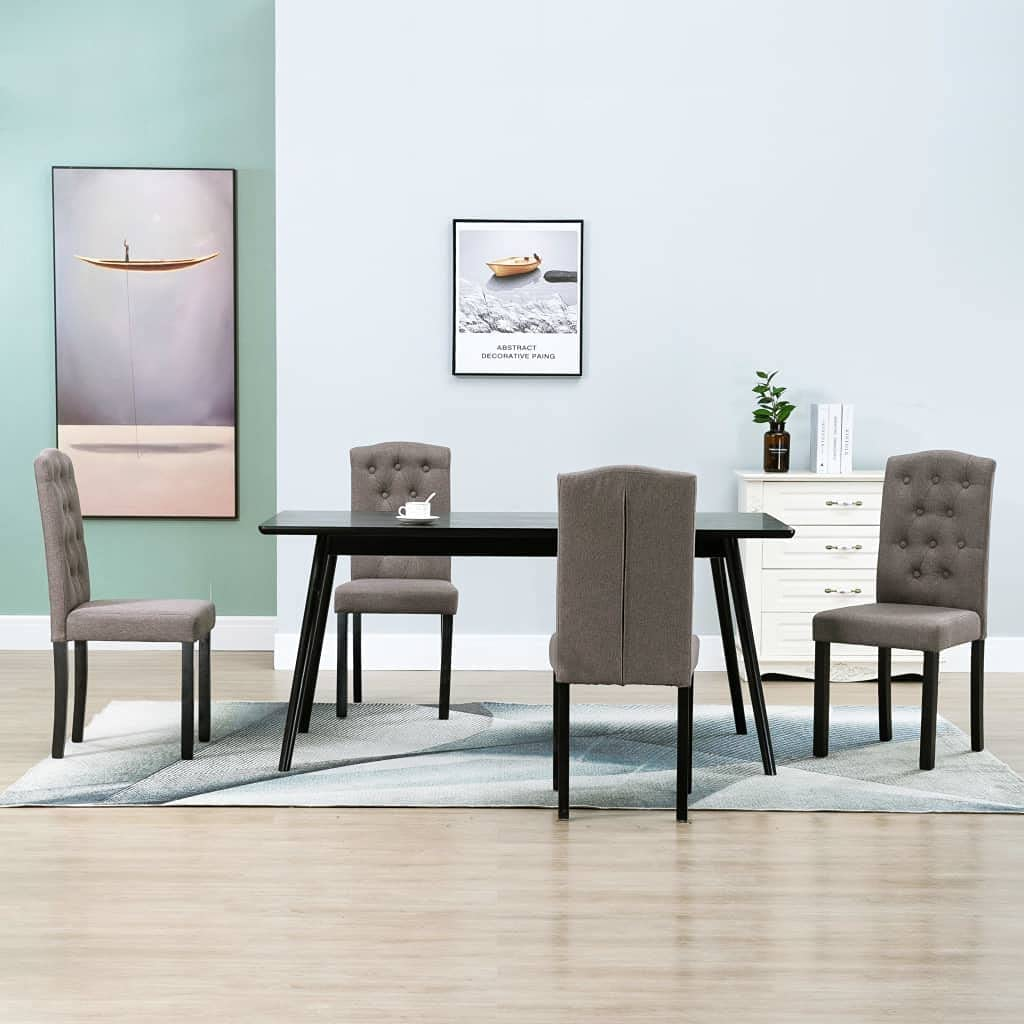 Classic Top-Spring Dining New arrival Chairs 4 Taupe Fabric pcs