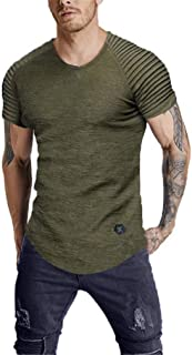 LeaLac Men's Short Sleeve Gym Training Jersey Slim Fit Plain Tennis Shirts