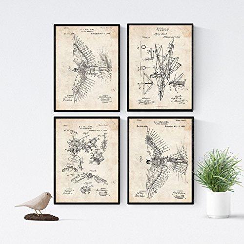 Nacnic Vintage - Pack de 4 Láminas con Patentes de PLANEADORES. Set de Posters con inventos y Patentes Antiguas. Elije el Color Que Más te guste. Impreso en Papel de 250 Gramos de Alta Calidad