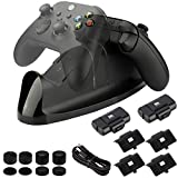 Charger Kit for Xbox Series X/S, Xbox One Controller, Dual Charging Dock Station with LED Indicator, Rechargeable Batteries, Battery Covers, a Charging Cable and Thumb Grips Included (16 in 1)