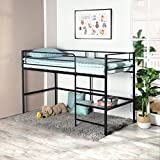 GreenForest Metal Loft Bed for Kids Twin Size Low Junior Bunk Bed Frame with Ladder and Shelf, Black