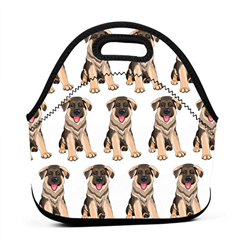 Women Men Boys Girls Insulated Neoprene Lunch Bag Handbag Lunchbox Food Container Gourmet Tote Cooler Warm Pouch for Outdoor Travel School Office Picnic, German Shepherd Puppy Dog