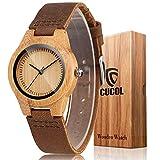 Cucol Womens木製竹腕時計Browm本牛革レザーストラップ腕時計withギフトボックス