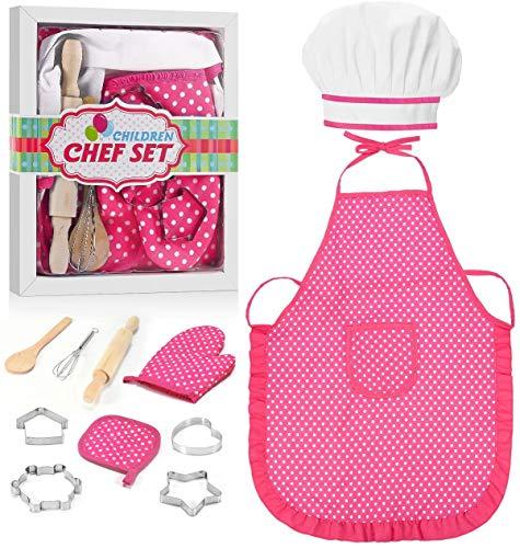 FTVOGUE Bambini Chef Set Fai da Te Cooking Baking Suit Giocattoli Set Pretend Play Clothes Grembiule Guanti Hat Cooker