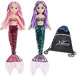 Aurora World 18' Sea Sparkles Plush Mermaids Set of 2 - Ava and Jenna, with Enjoy The Little Things Drawstring Bag