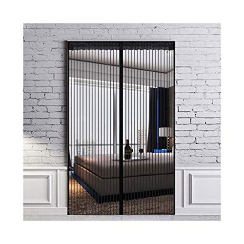 Zwarte anti-muggengaas, handenvrij, direct in elkaar grijpen, muggengaas, warmte-isolerend, automatisch sluiten voor de glazen schuifdeur, slaapkamer 80×210cm