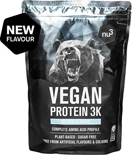Vegan Protein 3K Shake - 1 Kg Geschmacksneutral - Pflanzliches Proteinpulver mit Reis-, Sonnenblumen-, Erbsen- & Johannisbrot-Protein - Eiweißpulver aus 4-Komponenten-Protein mit 78% Eiweiss - von nu3