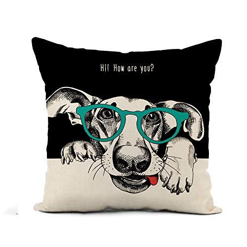 N\A Throw Pillow Cover Retrato de Mano de Perro Divertido con Gafas Funda de Almohada de Animal Hipster Decoración para el hogar Funda de Almohada de Lino de algodón Cuadrada Funda de cojín